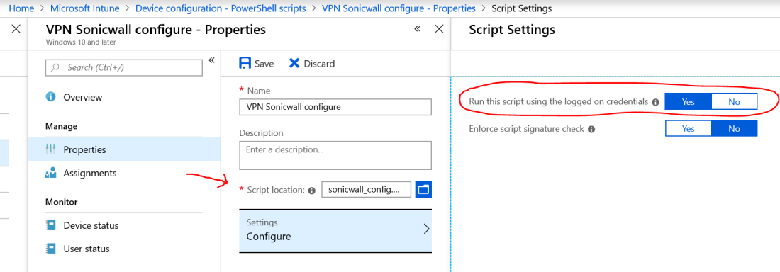 Microsoft Intune – how to configure Sonicwall NetExtender VPN client